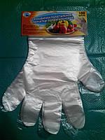Перчатки полиэтиленовые с отрывом 100шт.