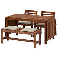 ЭПЛАРО Стол+2 стула с podlok.+скамья, коричневая морилка, Hallo черный