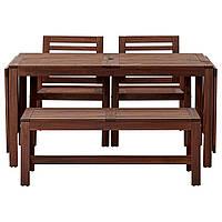 ЭПЛАРО Стол+2 стула с podlok.+присяжные, внешние коричневая морилка
