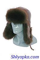 Мужская шапка-ушанка из кожи с мехом енота