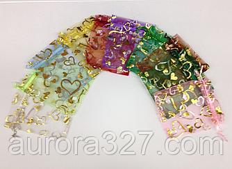Прозрачные цветные мешочки с сердечками из органзы