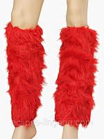 Меховые гетры красного цвета