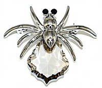 Брошка фирмы Neoglory. Цвет: серебряный. Камни: чёрный циркон и кристалл. Диаметр: 3,5 см.