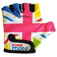 Перчатки детские KiddiMoto британский флаг в цветах радуги, размер М, на возраст 4-7 лет