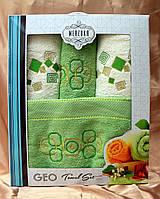 Комплект полотенец - Merzuka Geo - 4шт 100% cotton махра 2 шт банных + 2 шт для лица Турция