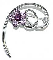 Брошка фирмы Neoglory. Цвет: серебряный. Камни:сиреневый и фиолетовый циркон . Диаметр: 4,5 см.