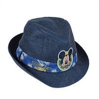 Детская соломенная шляпка Микки синяя, Дисней (Disney)