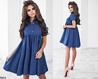 Платье рубашка молодежное свободное от груди, джинс + (3 цвета)