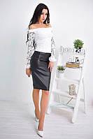 Костюм  блуза белая гипюр с юбкой карандаш из эко-кожи