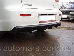 Диффузор заднего бампера Mitsubishi Lancer X (2007-) / одна труба