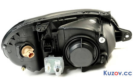 Фара Daewoo Lanos, Sens 98- правая (Depo) электрич., черный корпус 222-1104RBLDMND 96304611, фото 2