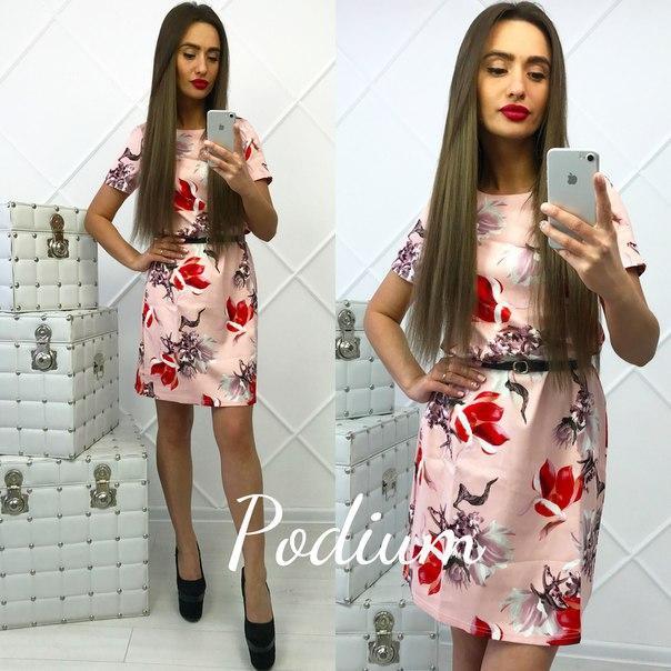 Платье из коттона в цветочный принт.