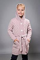 Детский вязаный кардиган для девочки с капюшоном