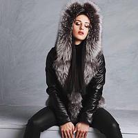 Куртка шкіряна з великою чорнобуркою