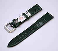 Ремешок Catfskin, плоский-глянцевый, кожаный, анти-аллергенный, темно зеленый, фото 1