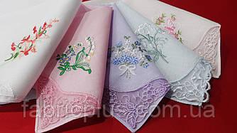 Носовой платок женский вышивка + решилье (28х28 см) 100% хлопок