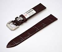 Ремешок Catfskin, плоский-глянцевый, кожаный, анти-аллергенный, темно-коричневый
