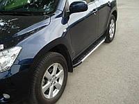 Алюминиевые пороги с площадкой для Toyota Rav 4 2006-2012 (короткая или длинная база)