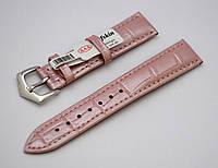 Ремешок Catfskin, матовый, кожаный, анти-аллергенный, розовый-перламутр, фото 1