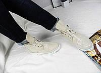 Ботинки женские кожаные на шнуровке с длиным язычком