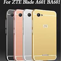 Металлический зеркальный чехол бампер для ZTE Blade A601 (4 цвета в наличии)