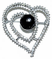 Брошка фирмы Neoglory. Цвет: серебряный. Камни: белый и чёрный циркон . Диаметр: 4,5 см.