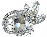 Брошка фирмы Neoglory. Цвет: серебряный. Камни: белый  циркон . Диаметр: 5,5 см.