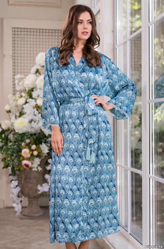 Длинный халат из натурального шелка 70%. Италия Mia-Mia Венеция 3249
