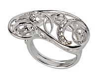 """Кольцо """"Заира"""" с кристаллами Swarovski, покрытое родием (r231f000)"""