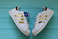 Женские кроссовки, кеды Adidas Superstar (Адидас Суперстар) White Gold , фото 1