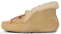 Женские зимние мокасины UGG Australia Alena Sand (угги угг) с мехом песочные