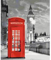 Телефонная будка, Серия Городской пейзаж, рисование по номерам, 40 ? 50 см, Идейка (КН2148)