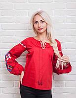 Эксклюзивная женская вышиванка с геометрическим орнаментом, красный