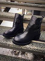 Крутые ботинки женские осень черные на низком ходу без каблука, обувь женская весна