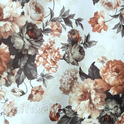 Мебельная ткань велюр Нирвана осенний букет