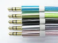 Шнур аудио, штекер 3,5стерео - штекер 3,5стерео, сетка, металл, gold, 1м,