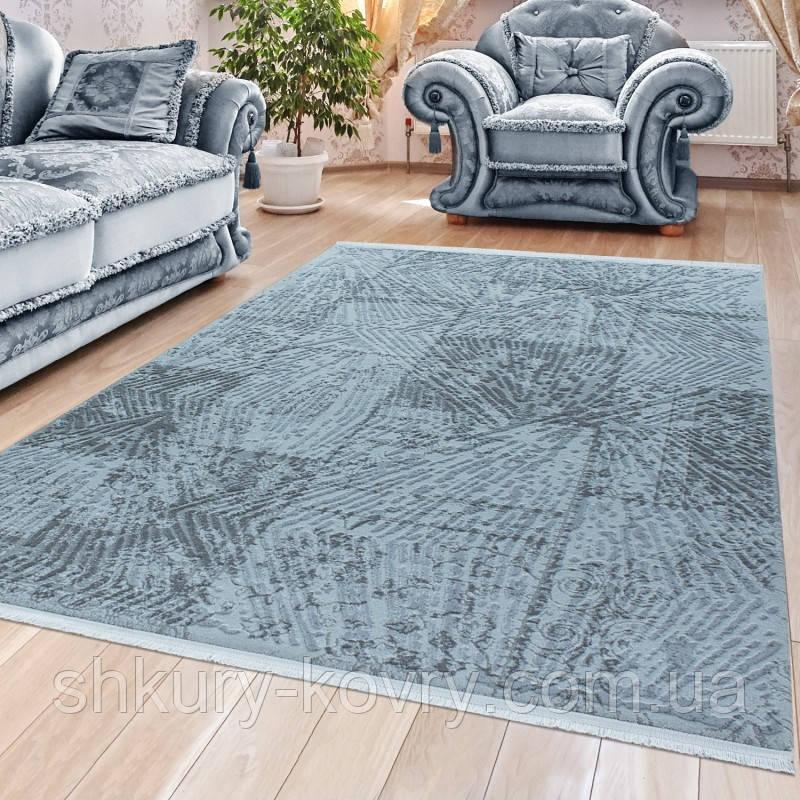 Элитные турецкие ковры, ковер хлопковый в полоску голубого цвета
