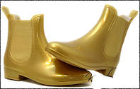 Золотые женские резиновые сапоги