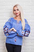 Эксклюзивная женская вышиванка с геометрическим орнаментом, джинс