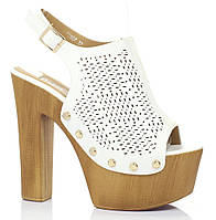 Элегантные женские босоножки на толстом каблуке белого цвета, фото 1