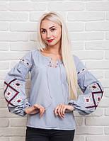 Эксклюзивная женская вышиванка с геометрическим орнаментом, светло-серая
