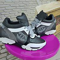 Кожаные кроссовки серого цвета