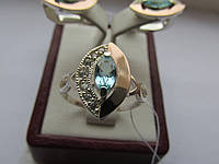 """Серебряное кольцо с золотыми накладками""""Ребекка"""", фото 1"""