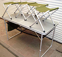 Кемпинговый стол и 4 стула Ranger раскладной 120х60х70 см , фото 1