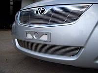 Алюминиевые накладки на решетки радиатора и бампера (комплект 2 шт) Toyota Camry 41 2010-2011