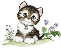"""Набор алмазной мозаики """"Котенок в цветах"""""""