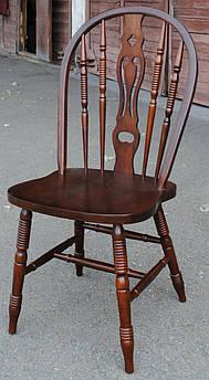 Стілець дерев'яний 221-з темна вишня, махонь, з напівкруглою спинкою, винзор, дерев'яний
