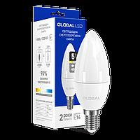 LED ЛАМПА GLOBAL C37 CL-F 5W ТЕПЛЫЙ СВЕТ 220V E14 (1-GBL-133-02)