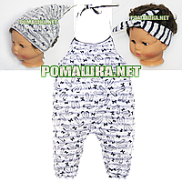 Детский комбинезон (ромпер) р. 98-104 для девочки ткань КУЛИР 100% тонкий хлопок 3739 Синий 98