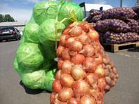 Сетка овощная 40 кг с ячейкой 2 мм зеленая (50х80) с завязкой